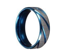 Blau-Silber-Ring Für Männer