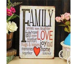 Metallwand-Schild Mit Dem Text Über Familie