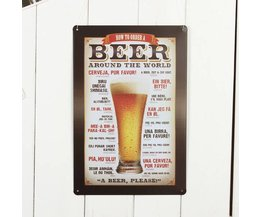 Tin Plate With Beer Print