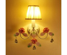 Retro Wall Lamp With Ceramic Roses