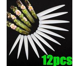 Milk White Fake Nails Tips 12 Pieces