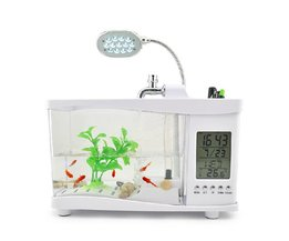Mini USB Aquarium With LED Lamp, Storage Compartment, Clock And Calendar