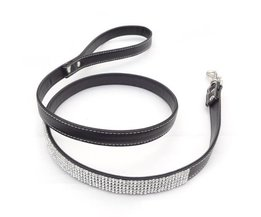 Leather Leash With Rhinestones