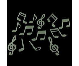 Wall Sticker Musical Notes Glow In The Dark 15 Pieces