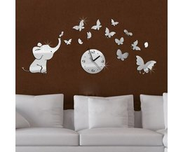 Wall Sticker Elephant With Clock