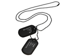 Dog Tag Necklace Black With Two Army Pictures For Men