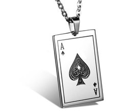 Ace Of Spades Pendant Necklace Stainless Steel