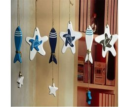 Hang Decoration Wood Star Fish For Chalet