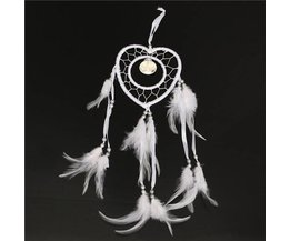 Heart-Shaped White Dreamcatcher