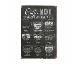 Decorative Metal Coffee Board 30 X 20CM