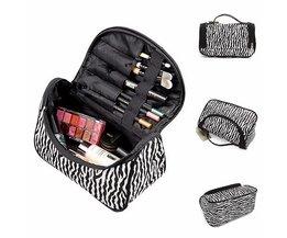 Compact Makeup Bag With Zebra Print