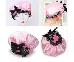 Cute Shower Cap With Lace And Bow