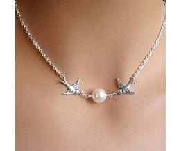 Bird Necklace Silver Metal