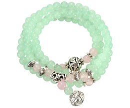 Buddhist Prayer Chain Bracelet Apple Green Chalcedony