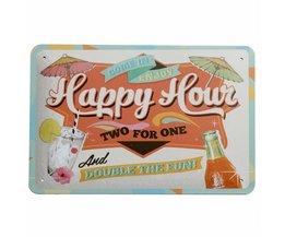 Vintage Happy Hour Wall Plate Metal 30 X 20CM