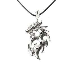 Silvery Dragon Pendant On Leather Necklace