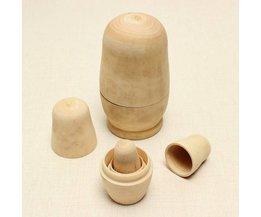 5-Piece Set Unpainted Matryoshka Dolls Wood