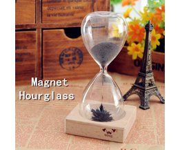 Magnetic Hourglass With Iron Powder And Wood Holder