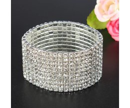 Rhinestone Bracelet With Multiple Rows