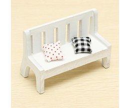 Zakka Mini Wooden Bench Inside With Pillows