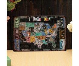 "Decorative Plate Tin ""I Love USA"""