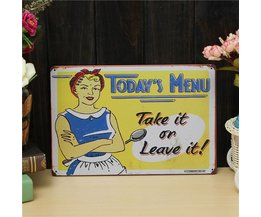 "Retro Tin Plate ""Today'S Menu"""