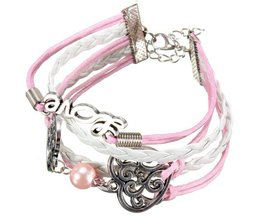 Leather Bracelet With A Pink Color