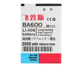 Feipusi 2000MAh Replacement Battery For Sony Ericsson ST25I BA600
