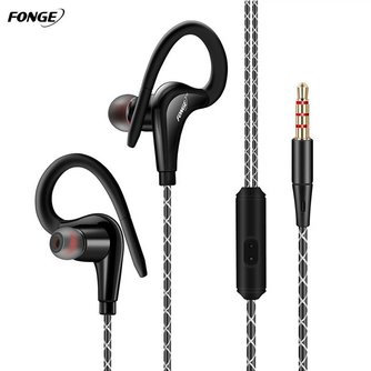 Fonge S760 Ear Hook Sport Headphones Bass Stereo Sport Running Earbud Earphone 3.5mm Jack Headset With Microphone For Phone