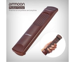 ammoon Portable Acoustic Pocket Guitar Practice Tool Gadget Chord Trainer 6 String 6 Fret Model Rosewood Fretboard Wood Grain