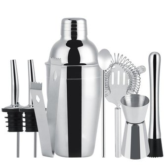 8Pcs 550ML Stainless Steel Cocktail Shaker Set Mixer Bar Drink Bartender Tool Home Brewery Bar Accessories