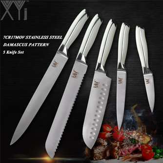 XYjStainless Steel 5 PCS Kitchen Knife Set Chef Bread Santoku Utility Paring Knive 7Cr17Mov/440A Germany Style