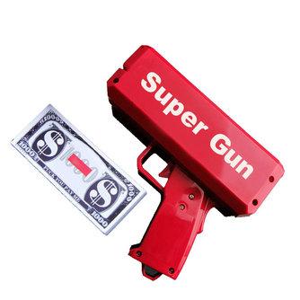 TUKATO Make It Rain Money Gun Red Cash Cannon Super Gun Toys 100PCS Bills Party Game Outdoor FunPistol Toys