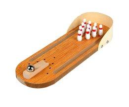 Mini Desktop Bowling Game Set Wooden Bowling Alley Ten Metal Pin Ball Desk