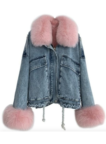 Denim Fox Fur Jacket