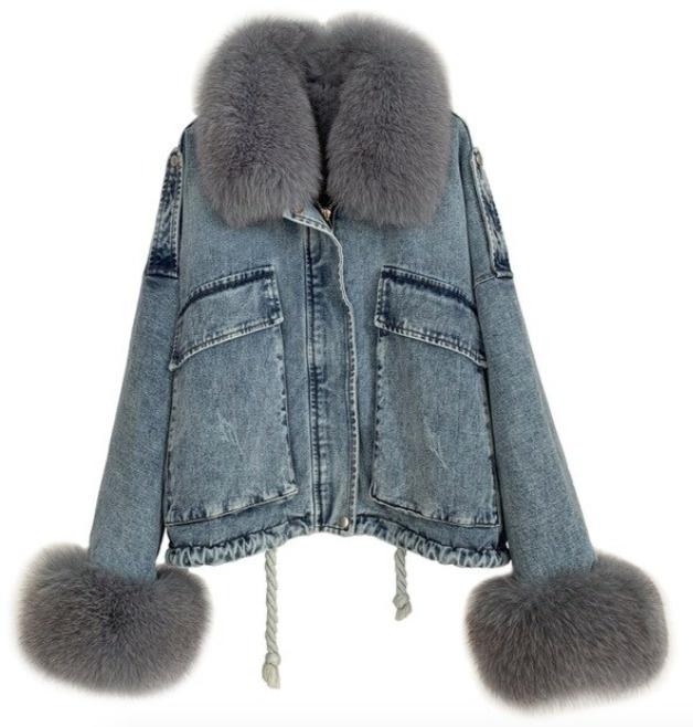 Denim Fox Fur Jacket