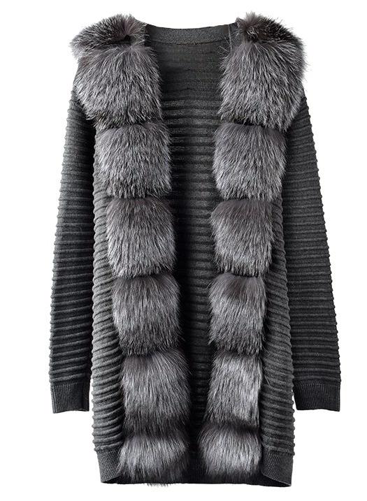 Fox Fur Maxi Cardigan Anjali