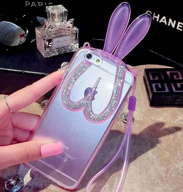 Phone Case Bunny Ears Strass
