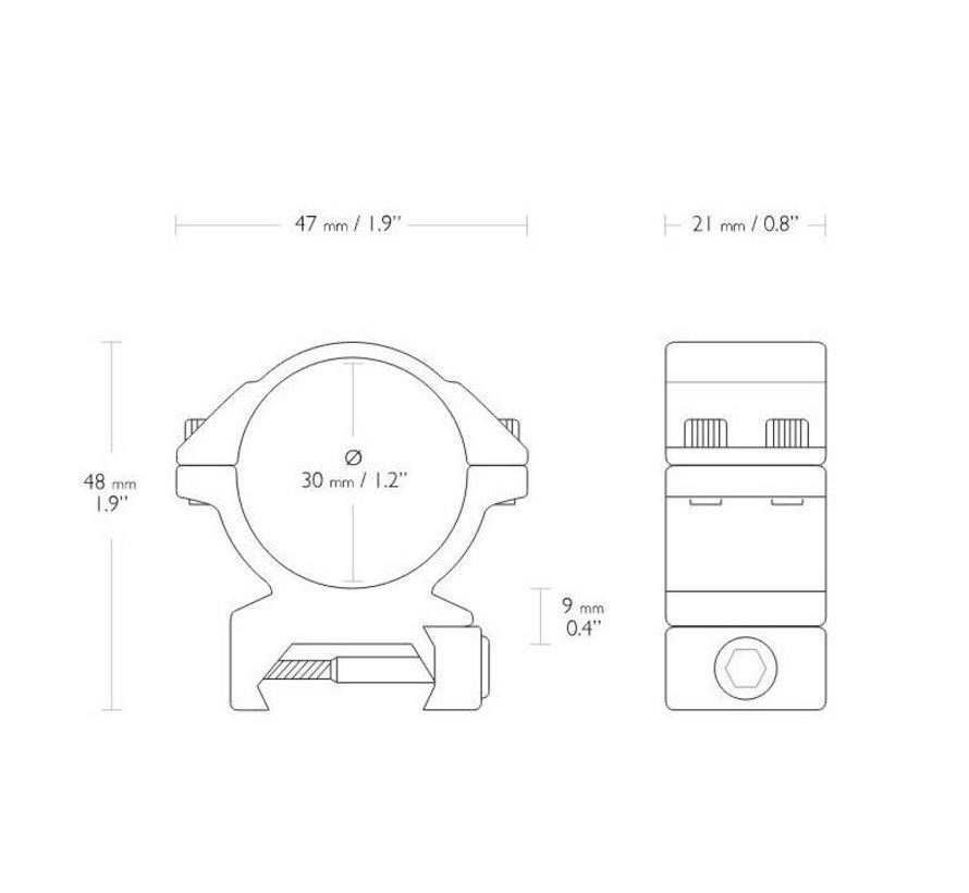 Hawke Match Montage 30 mm Weaver Medium