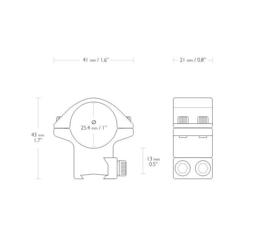 Hawke Match mounts 1 inch  9 - 11 mm Medium