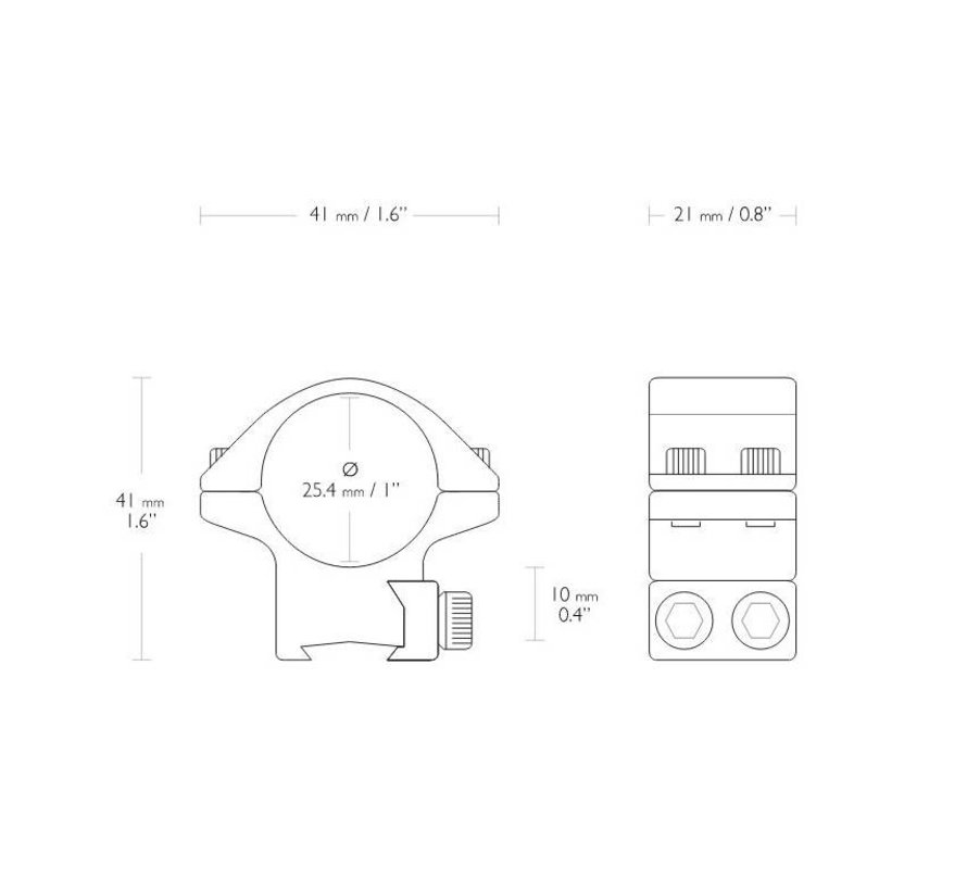 Hawke Match Montage   1 inch  9 - 11 mm Low