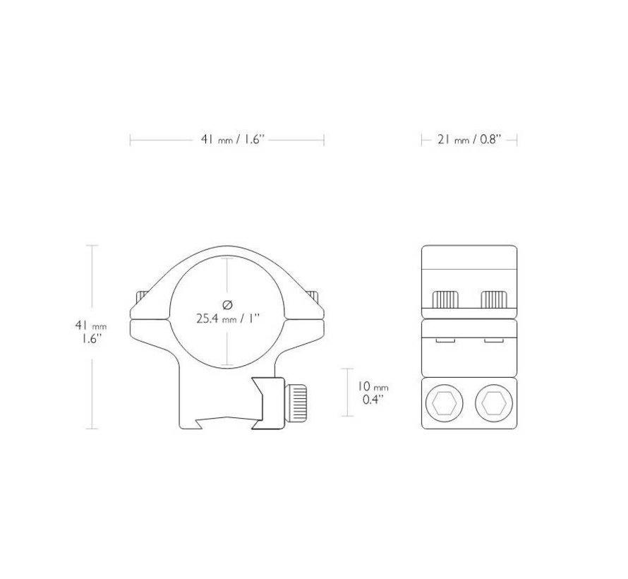 Hawke Match mounts 1 inch  9 - 11 mm Low