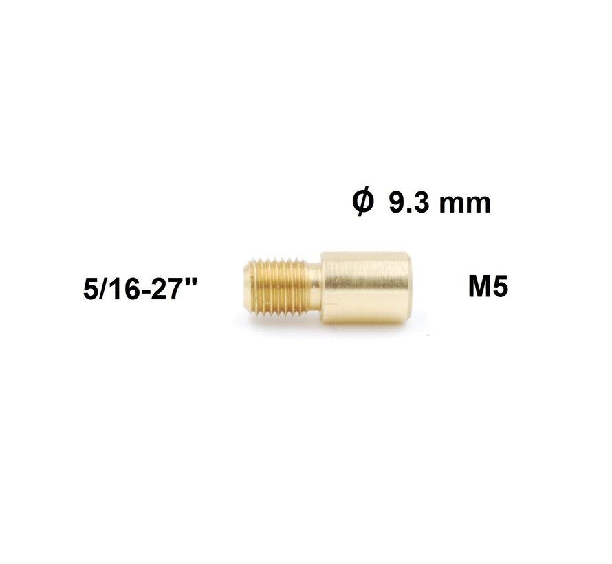 "Cleaning Rod Adapter  Dewey 5/16-27"" external thread to  M5 internal thread"