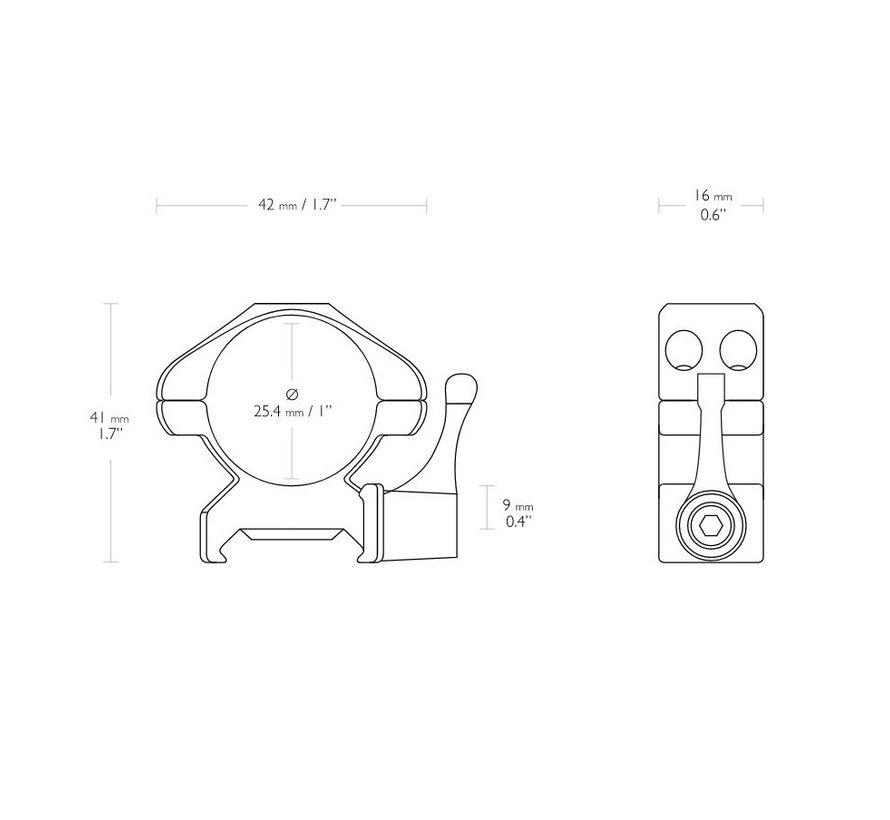 Hawke QR Steel Montage 1 inch Weaver Medium