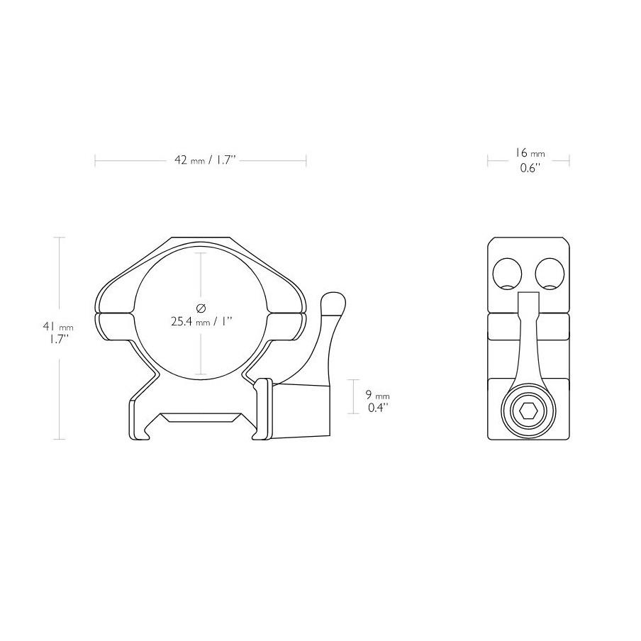 Hawke Hawke QR Steel Montage 1 inch Weaver Medium