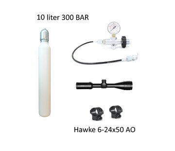 PCP Startpakket XXL  10 liter 300 bar + 6-24x50 AO