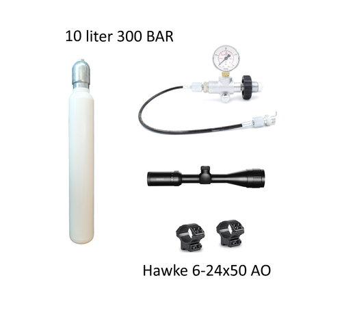 XXL PCP Startpakket L  10 liter 300 bar + 6-24x50 AO