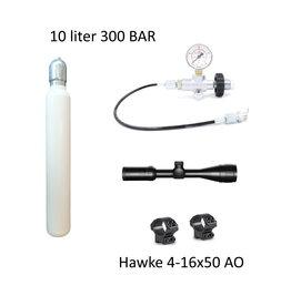 PCP Startpakket XL  10 liter 300 bar + 4-16x50 AO