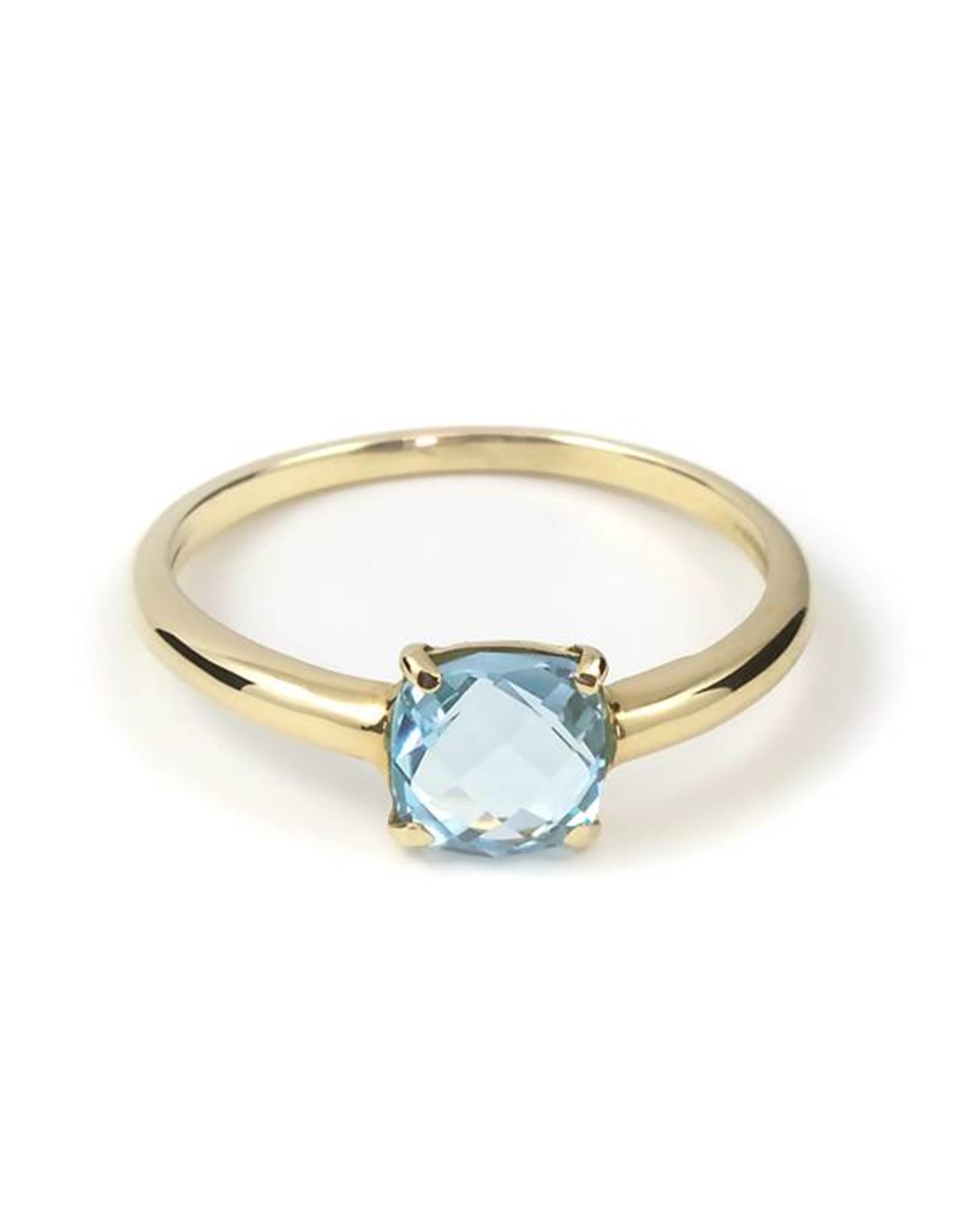 Navarro Ring - Goud + blauw topaas