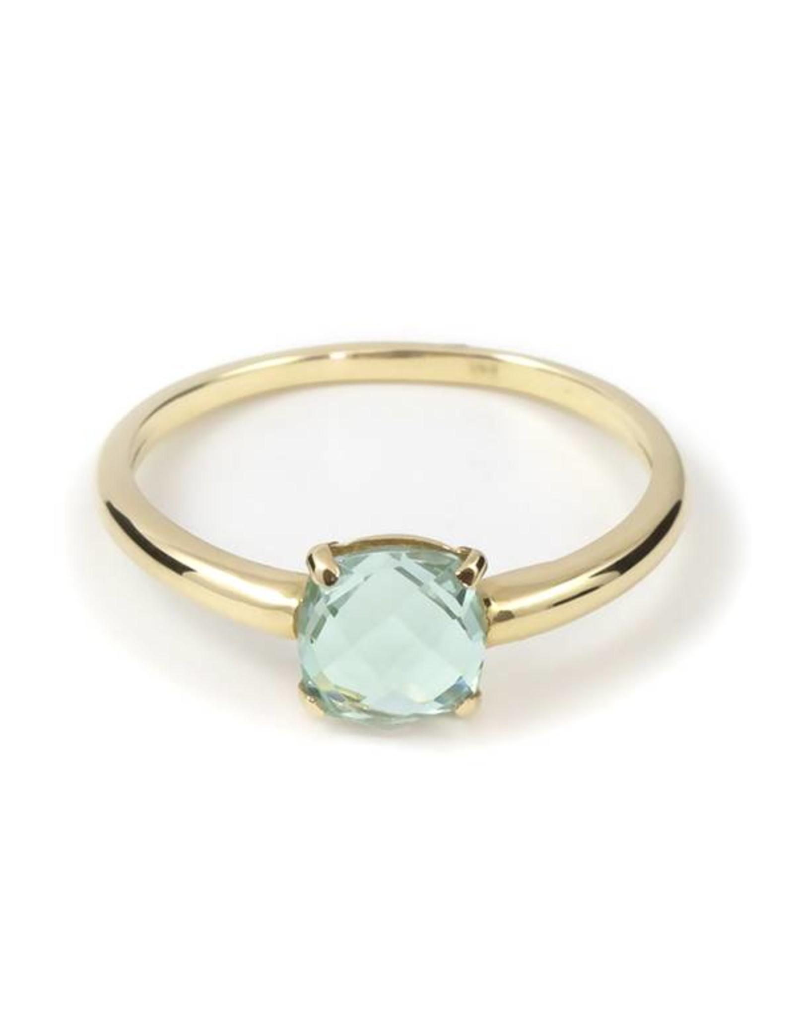 Navarro Ring - Goud + Groene Amethist